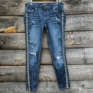 Vigoss The Jagger Skinny Distressed Embroidered